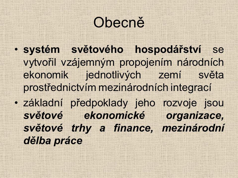 Obecně systém světového hospodářství se vytvořil vzájemným propojením národních ekonomik jednotlivých zemí světa prostřednictvím mezinárodních integra