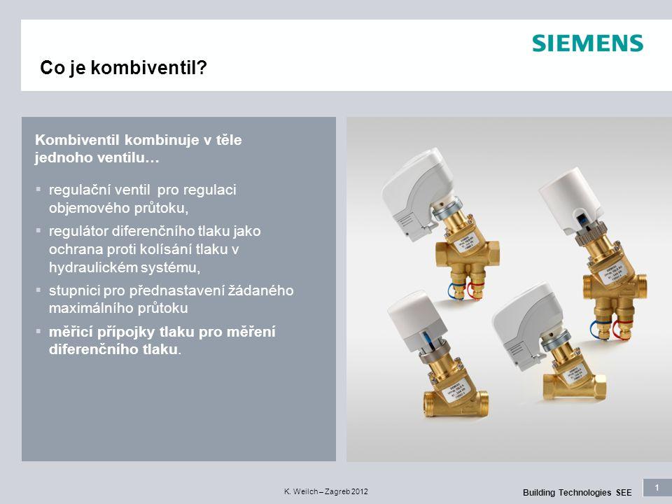 1 Building Technologies SEE K. Weilch – Zagreb 2012 Kombiventil kombinuje v těle jednoho ventilu…  regulační ventil pro regulaci objemového průtoku,