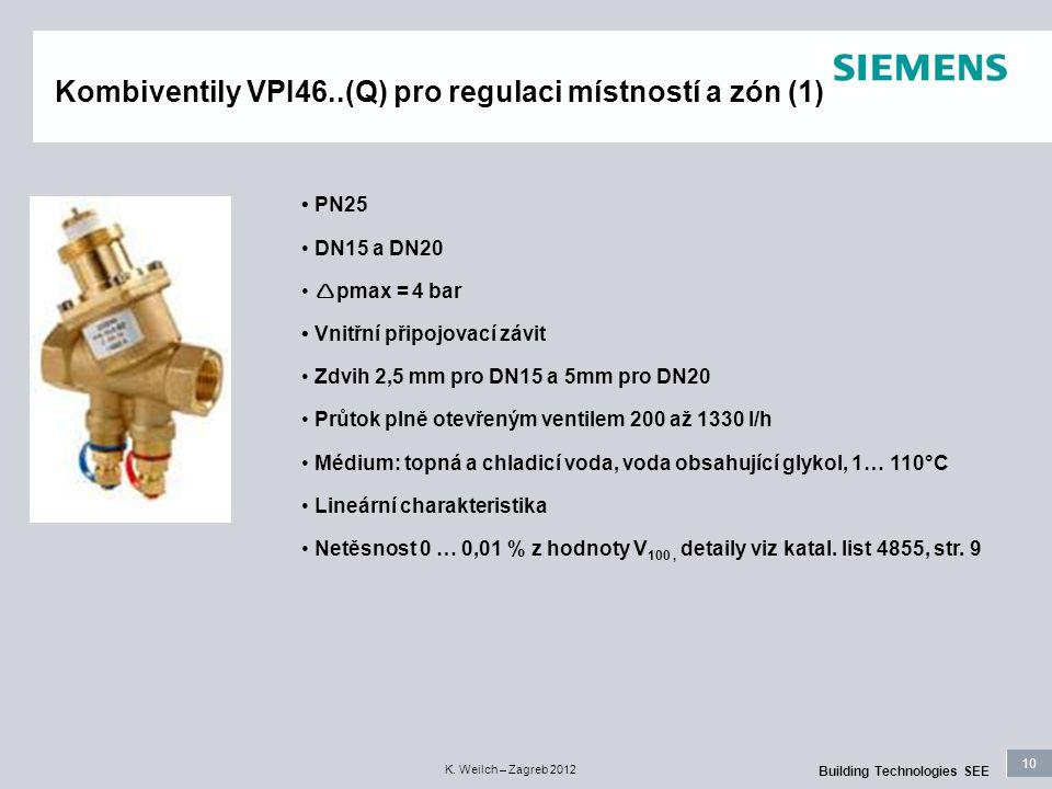 10 Building Technologies SEE K. Weilch – Zagreb 2012 Kombiventily VPI46..(Q) pro regulaci místností a zón (1) PN25 DN15 a DN20  pmax = 4 bar Vnitřní