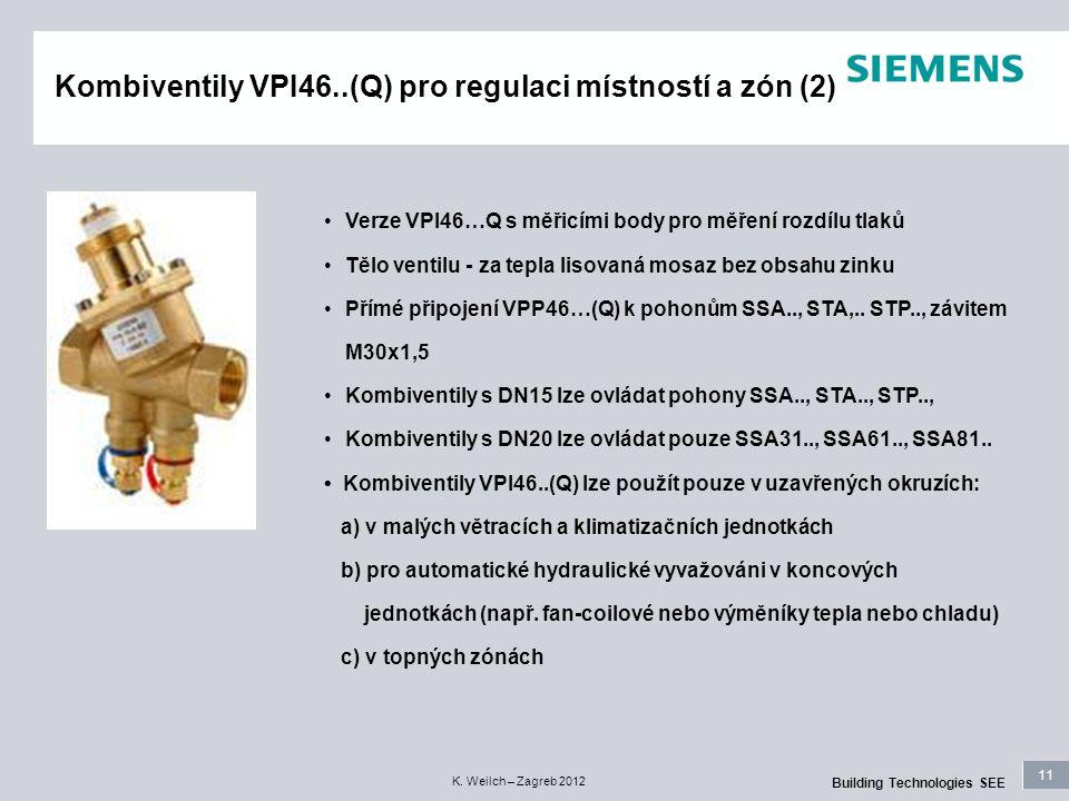 11 Building Technologies SEE K. Weilch – Zagreb 2012 Kombiventily VPI46..(Q) pro regulaci místností a zón (2) Verze VPI46…Q s měřicími body pro měření