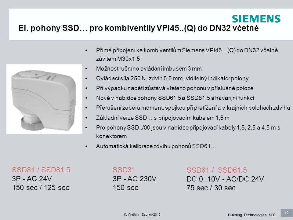 12 Building Technologies SEE K. Weilch – Zagreb 2012 El. pohony SSD… pro kombiventily VPI45..(Q) do DN32 včetně SSD61 / SSD61.5 DC 0..10V - AC/DC 24V