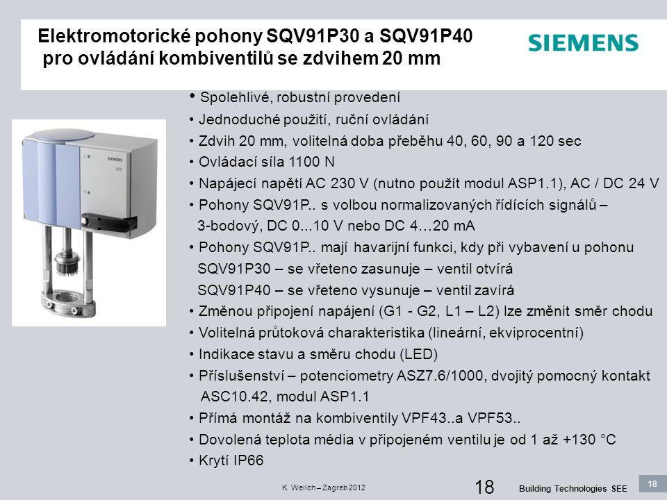 18 Building Technologies SEE K. Weilch – Zagreb 2012 18 Elektromotorické pohony SQV91P30 a SQV91P40 pro ovládání kombiventilů se zdvihem 20 mm Spolehl