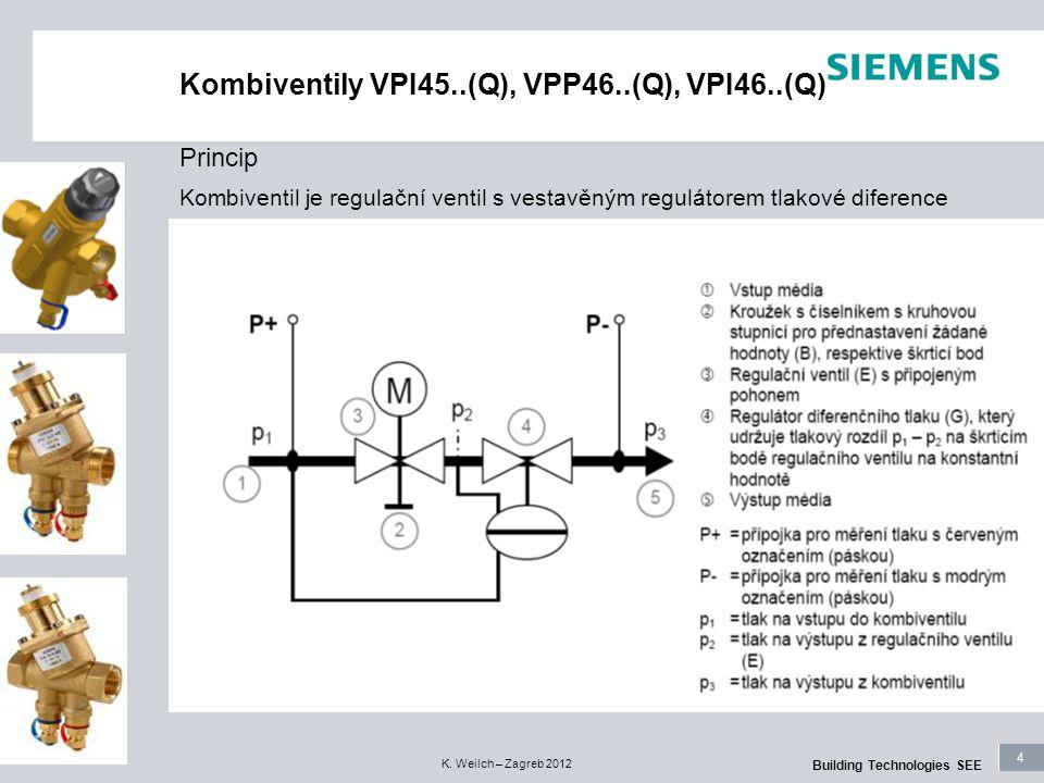 4 Building Technologies SEE K. Weilch – Zagreb 2012 Kombiventily VPI45..(Q), VPP46..(Q), VPI46..(Q) Kombiventil je regulační ventil s vestavěným regul