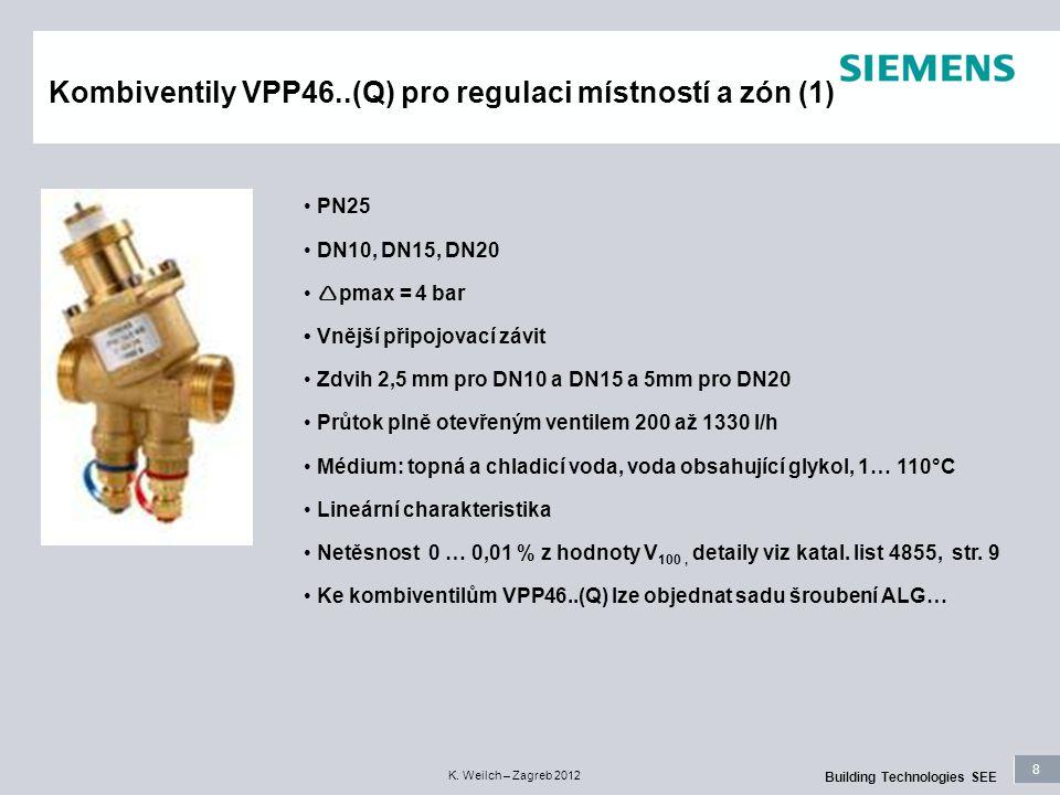 8 Building Technologies SEE K. Weilch – Zagreb 2012 Kombiventily VPP46..(Q) pro regulaci místností a zón (1) PN25 DN10, DN15, DN20  pmax = 4 bar Vněj
