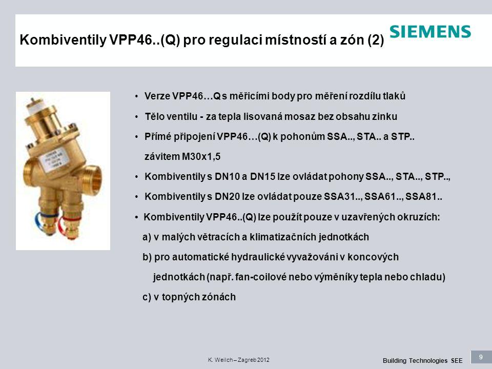 9 Building Technologies SEE K. Weilch – Zagreb 2012 Kombiventily VPP46..(Q) pro regulaci místností a zón (2) Verze VPP46…Q s měřicími body pro měření