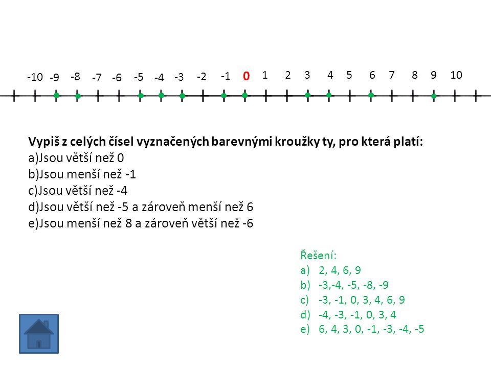 0 12345678910 -2 -3 -4 -5 -6-7 -8 -9 -10 Vypiš z celých čísel vyznačených barevnými kroužky ty, pro která platí: a)Jsou větší než 0 b)Jsou menší než -