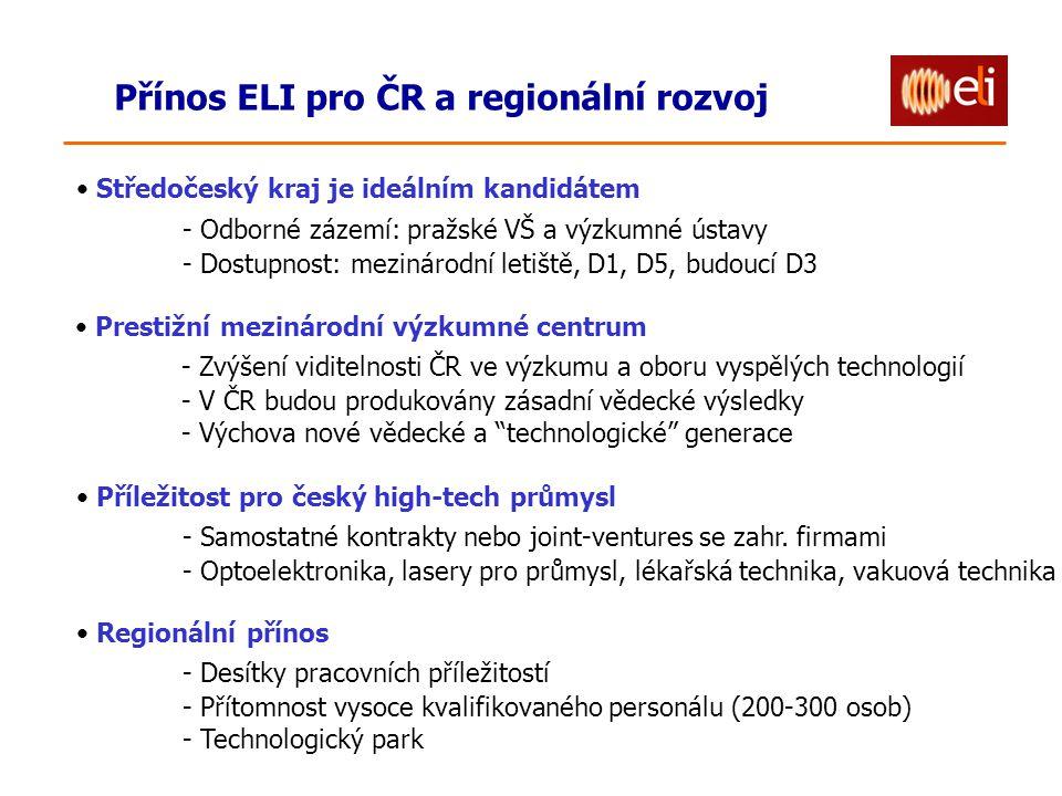 Přínos ELI pro ČR a regionální rozvoj Prestižní mezinárodní výzkumné centrum - Zvýšení viditelnosti ČR ve výzkumu a oboru vyspělých technologií - V ČR