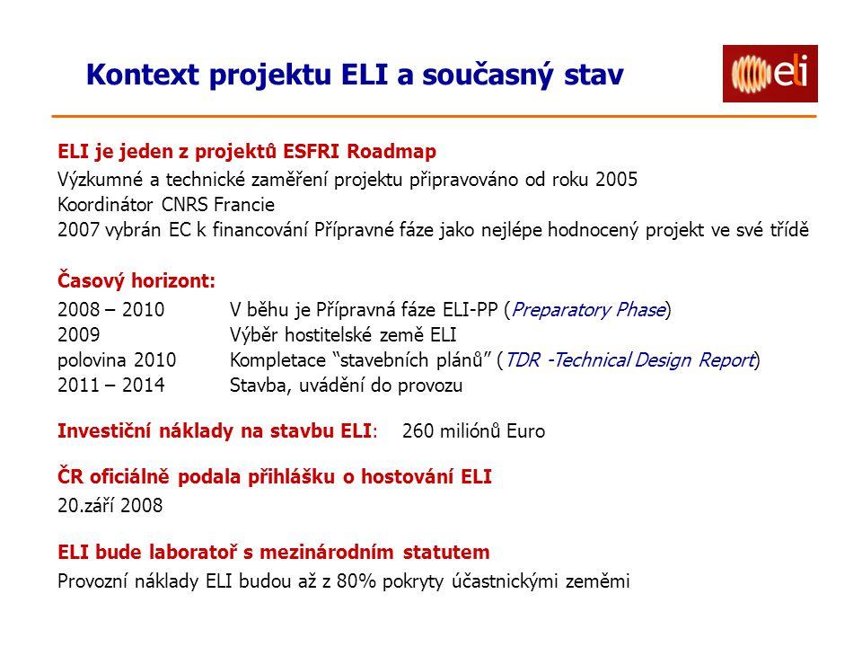 Kontext projektu ELI a současný stav ELI je jeden z projektů ESFRI Roadmap Výzkumné a technické zaměření projektu připravováno od roku 2005 Koordináto