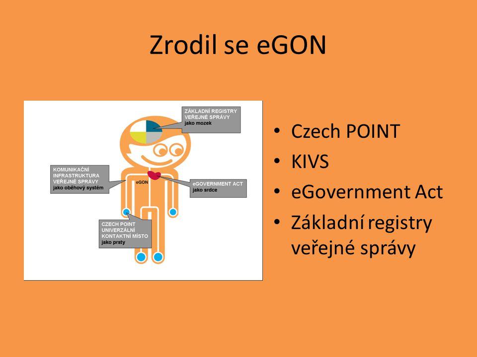Zrodil se eGON Czech POINT KIVS eGovernment Act Základní registry veřejné správy