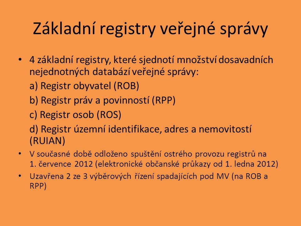 Základní registry veřejné správy 4 základní registry, které sjednotí množství dosavadních nejednotných databází veřejné správy: a) Registr obyvatel (ROB) b) Registr práv a povinností (RPP) c) Registr osob (ROS) d) Registr územní identifikace, adres a nemovitostí (RUIAN) V současné době odloženo spuštění ostrého provozu registrů na 1.