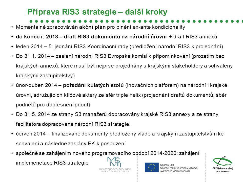 Momentálně zpracováván akční plán pro plnění ex-ante kondicionality do konce r. 2013 – draft RIS3 dokumentu na národní úrovni + draft RIS3 annexů lede