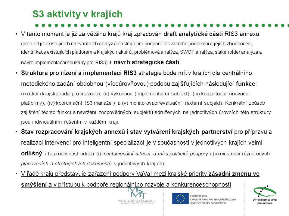 V tento moment je již za většinu krajů kraj zpracován draft analytické části RIS3 annexu (přehled již existujících relevantních analýz a nástrojů pro