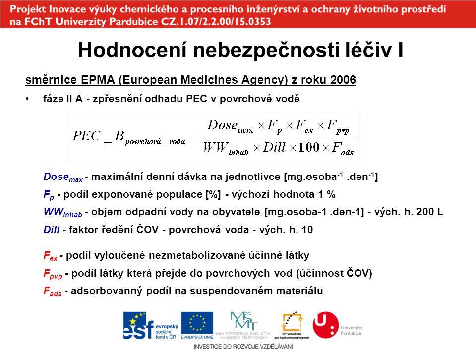 směrnice EPMA (European Medicines Agency) z roku 2006 fáze II A - zpřesněný odhad PEC v povrchové vodě - zpřesnění F p Hodnocení nebezpečnosti léčiv I AC - roční spotřeba účinné látky DDD - průměrná denní dávka na obyvatele hab - počet obyvatel fáze II A - odhad PNEC –využití dostupných výsledků dlouhodobých testů chronické ekotoxicity na dafniích, řasách a rybách –nejnižší hodnota NOEC těchto testů je podělena faktorem 10