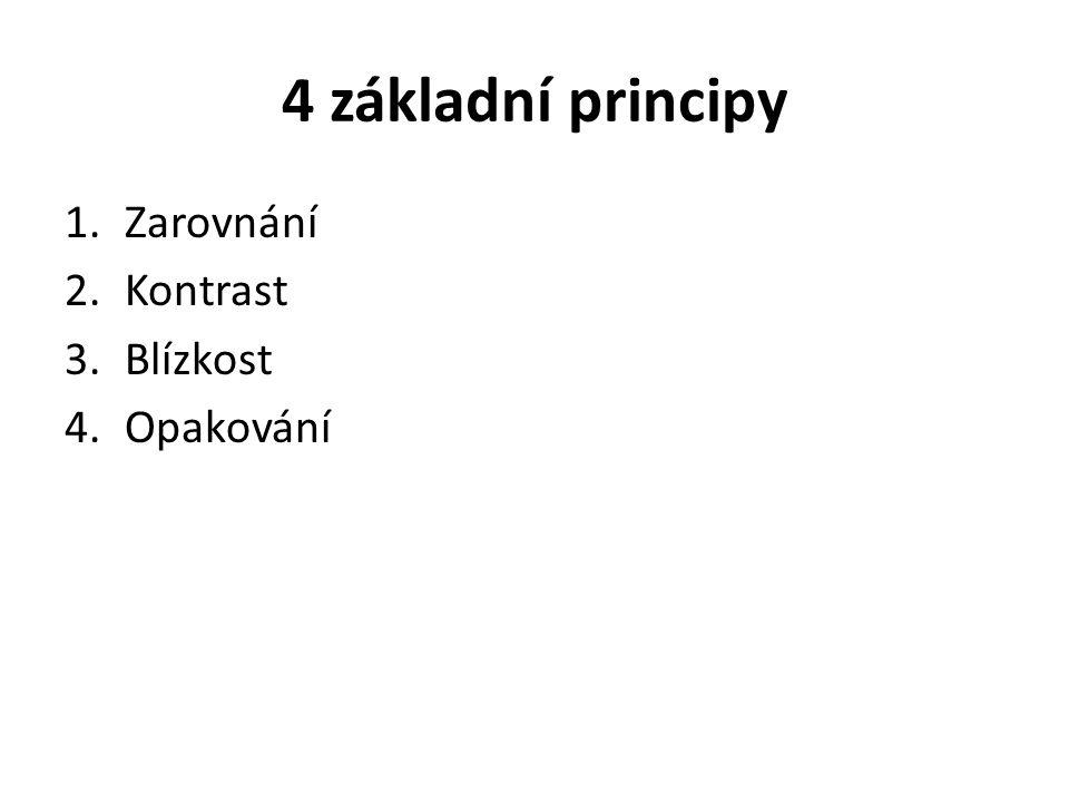 4 základní principy 1.Zarovnání 2.Kontrast 3.Blízkost 4.Opakování