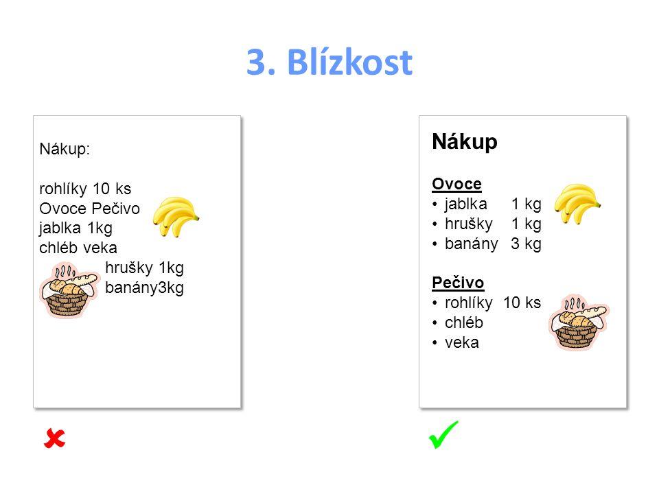 3. Blízkost Nákup Ovoce jablka1 kg hrušky1 kg banány3 kg Pečivo rohlíky10 ks chléb veka Nákup Ovoce jablka1 kg hrušky1 kg banány3 kg Pečivo rohlíky10