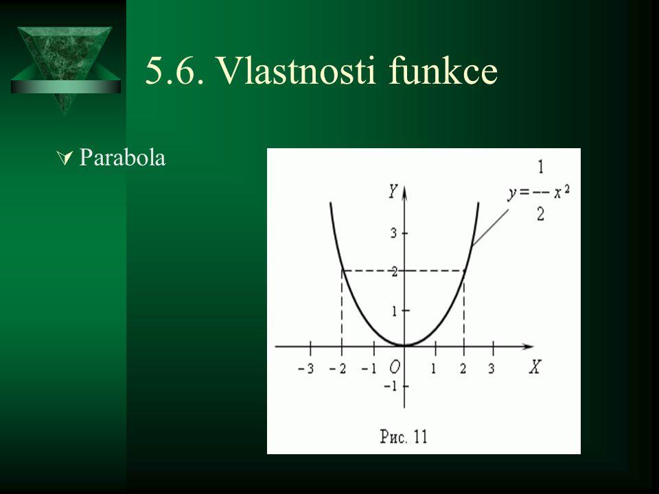 5.6. Vlastnosti funkce  Parabola
