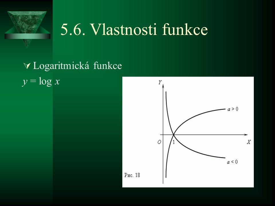 5.6. Vlastnosti funkce  Logaritmická funkce y = log x