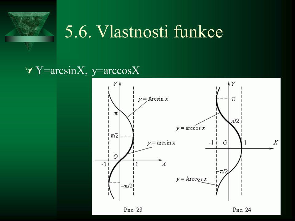 5.6. Vlastnosti funkce  Y=arcsinX, y=arccosX