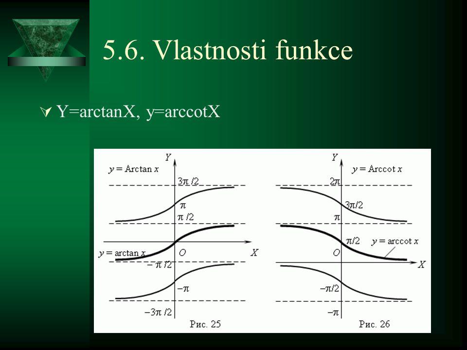 5.6. Vlastnosti funkce  Y=arctanX, y=arccotX
