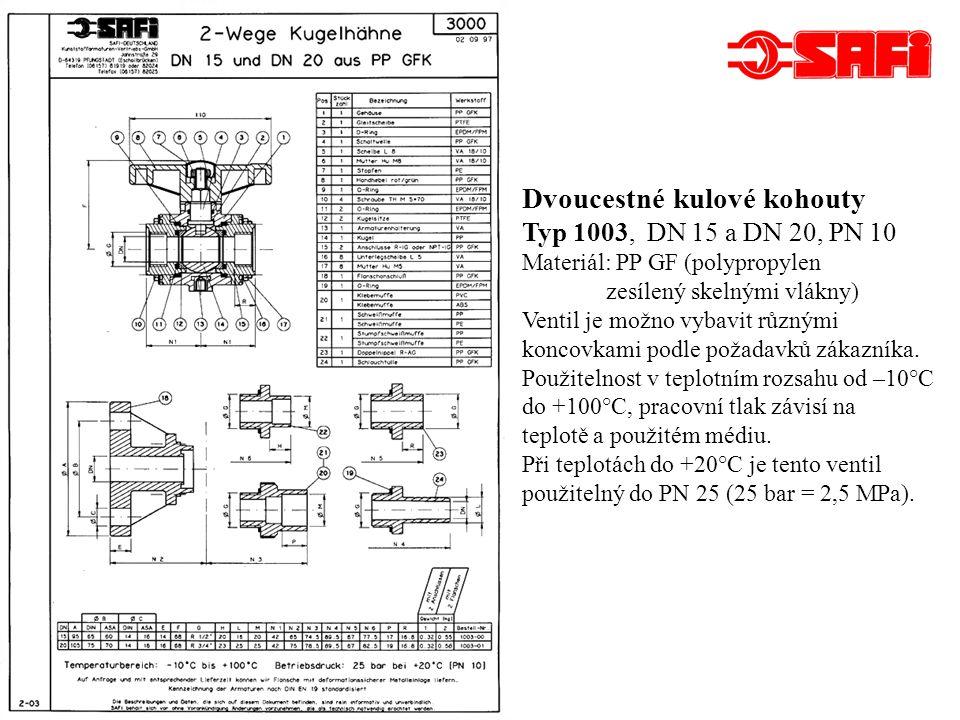 Dvoucestné kulové kohouty Typ 1003 - pokračování K ventilu je možno kromě koncovek doobjednat další náhradní díly, nejčastěji se jedná o těsnění.