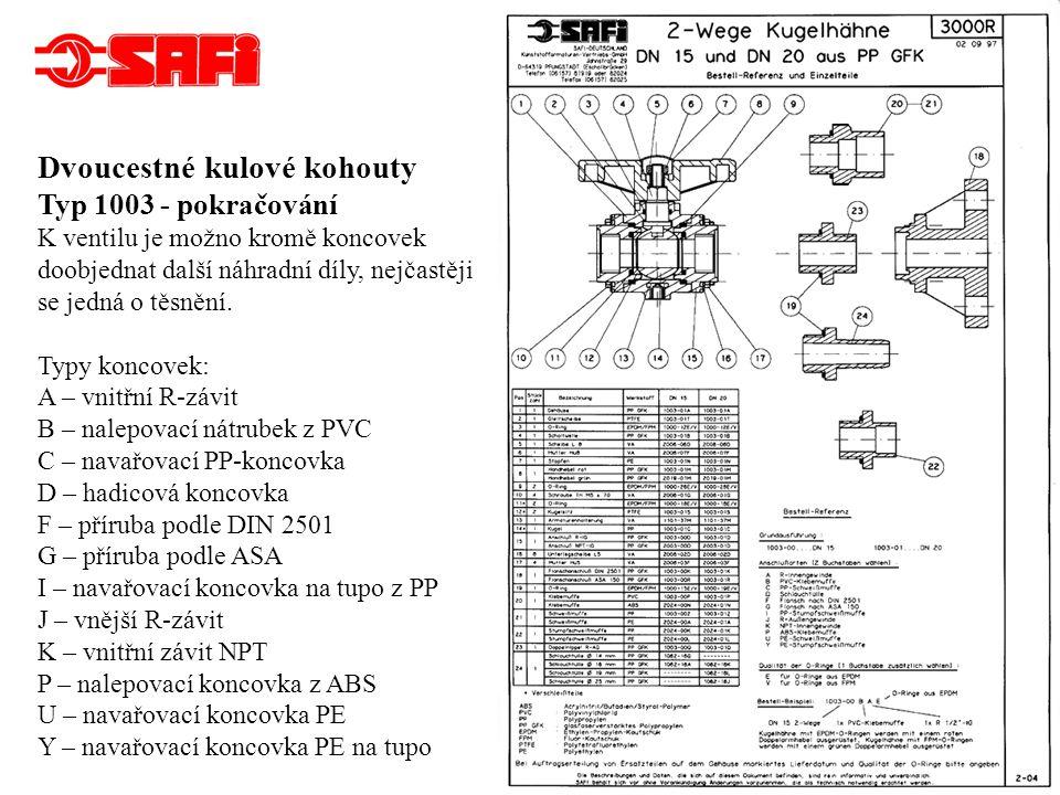 Dvoucestné kompaktní kulové kohouty DN 15 a DN 20 Typ 2008, PN 10 Materiál: PP GF (polypropylen zesílený skelnými vlákny) Ventil je možno opatřit různými koncovkami podle požadavků zákazníka.