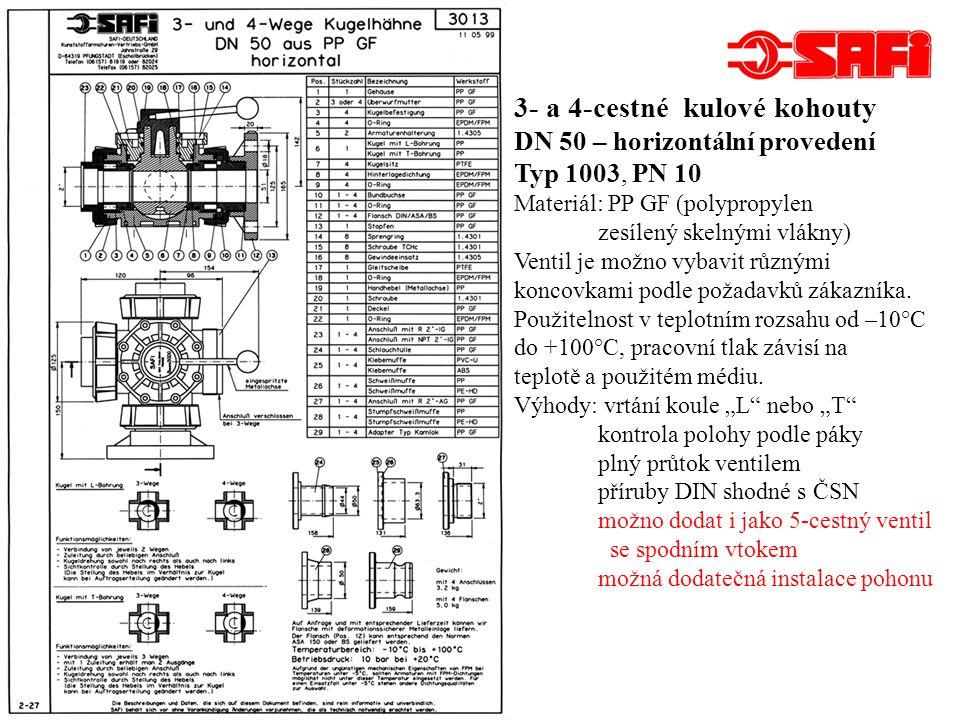 Kulové kohouty z PVDF mají obdobné provedení jako výrobky z PP GF.