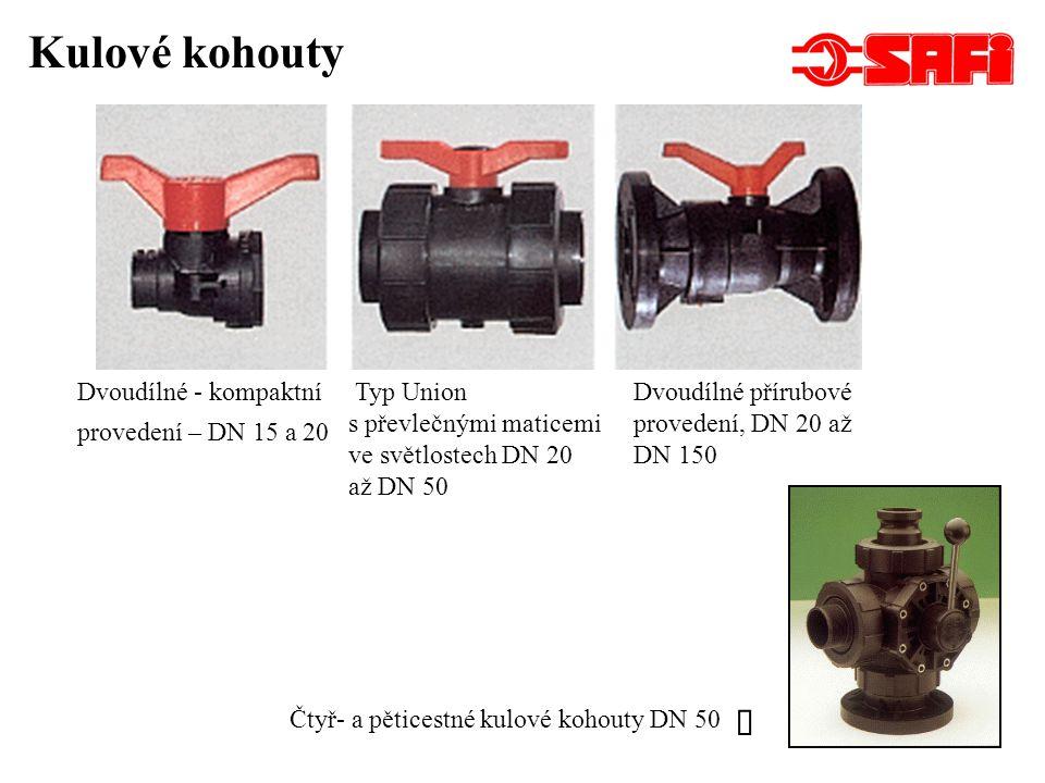 Složení uzavíracího dvoucestného kulového přírubového kohoutu Těleso ventilů je ze dvou částí, těsněno O-kroužky.