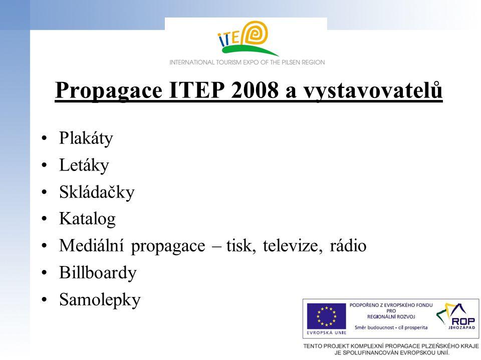 Propagace ITEP 2008 a vystavovatelů Plakáty Letáky Skládačky Katalog Mediální propagace – tisk, televize, rádio Billboardy Samolepky