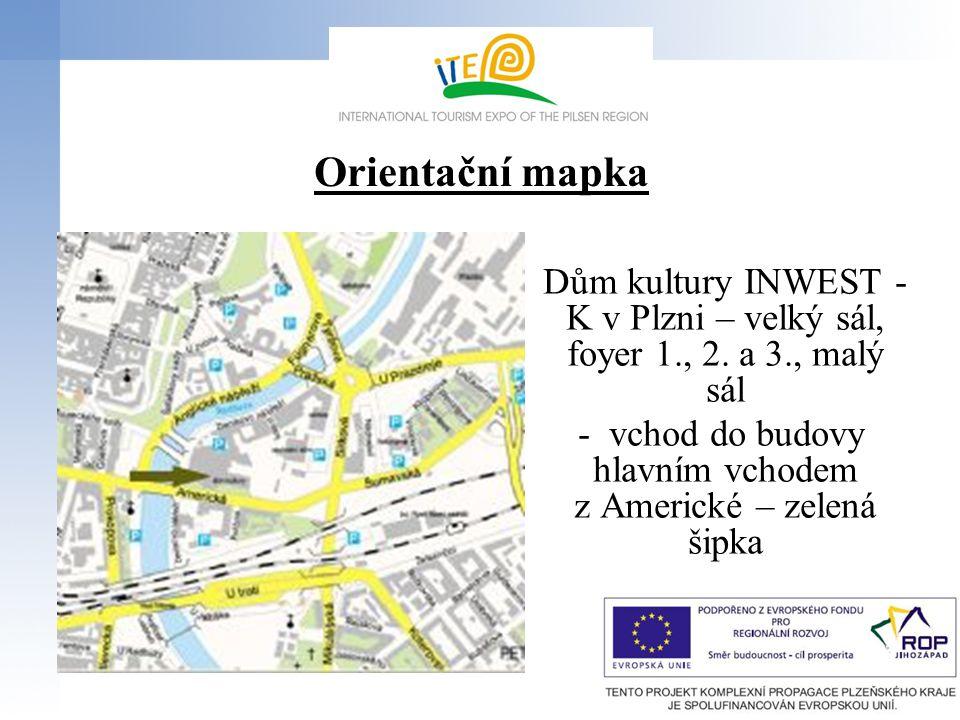 Orientační mapka Dům kultury INWEST - K v Plzni – velký sál, foyer 1., 2. a 3., malý sál - vchod do budovy hlavním vchodem z Americké – zelená šipka