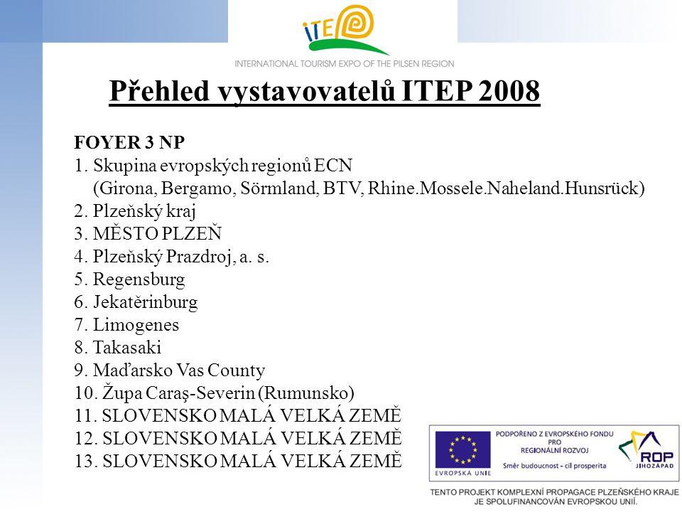 7 Přehled vystavovatelů ITEP 2008 FOYER 3 NP 1. Skupina evropských regionů ECN (Girona, Bergamo, Sörmland, BTV, Rhine.Mossele.Naheland.Hunsrück) 2. Pl