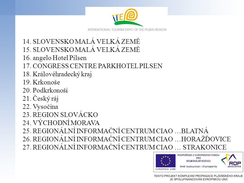 14. SLOVENSKO MALÁ VELKÁ ZEMĚ 15. SLOVENSKO MALÁ VELKÁ ZEMĚ 16. angelo Hotel Pilsen 17. CONGRESS CENTRE PARKHOTEL PILSEN 18. Královéhradecký kraj 19.
