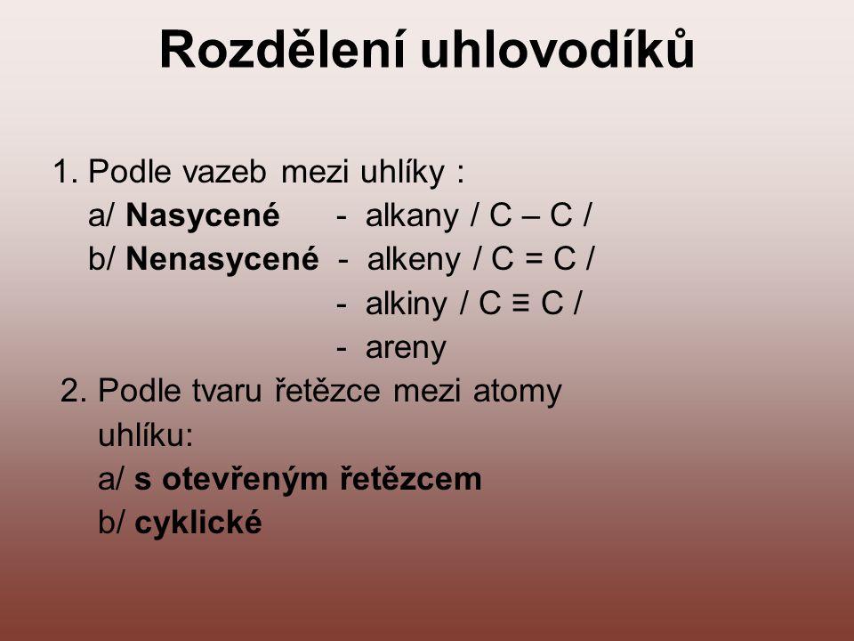 Rozdělení uhlovodíků 1. Podle vazeb mezi uhlíky : a/ Nasycené - alkany / C – C / b/ Nenasycené - alkeny / C = C / - alkiny / C ≡ C / - areny 2. Podle