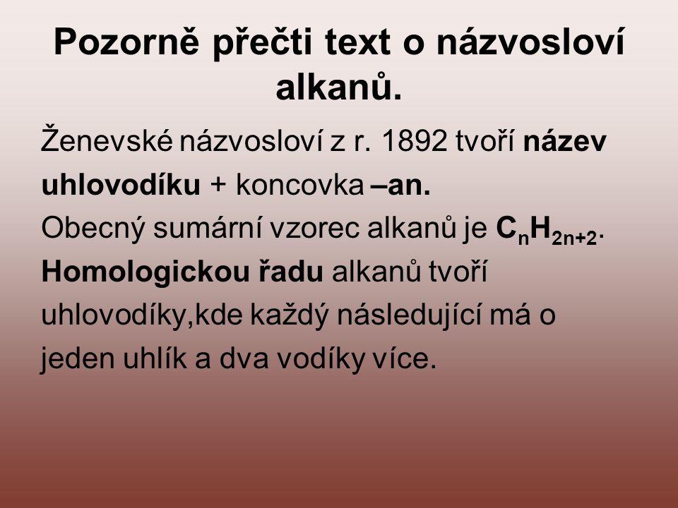 Pozorně přečti text o názvosloví alkanů. Ženevské názvosloví z r. 1892 tvoří název uhlovodíku + koncovka –an. Obecný sumární vzorec alkanů je C n H 2n
