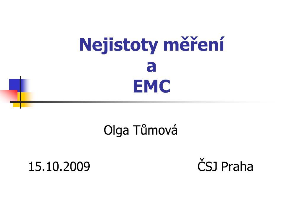 15.10.2009Tůmová33 Měření rušivého napětí na anténních svorkách Při výpočtu nejistoty typu B je uvažována nejistota kalibrace a nejistota při měření v jednotlivých frekvenčních pásmech.