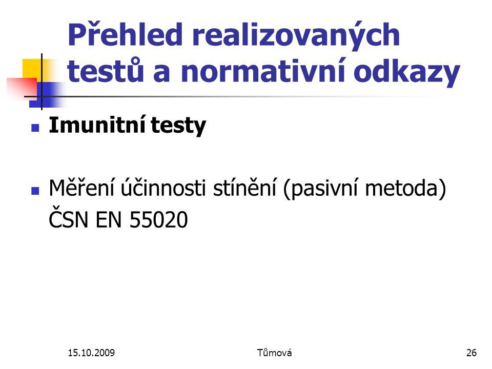 15.10.2009Tůmová26 Přehled realizovaných testů a normativní odkazy Imunitní testy Měření účinnosti stínění (pasivní metoda) ČSN EN 55020