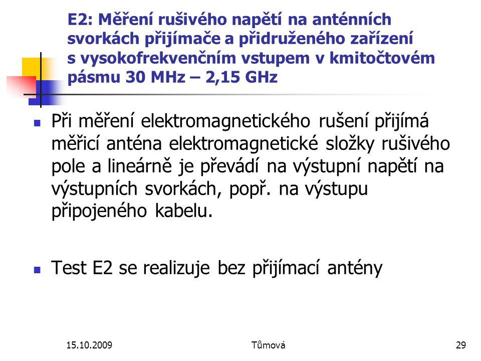 15.10.2009Tůmová29 E2: Měření rušivého napětí na anténních svorkách přijímače a přidruženého zařízení s vysokofrekvenčním vstupem v kmitočtovém pásmu