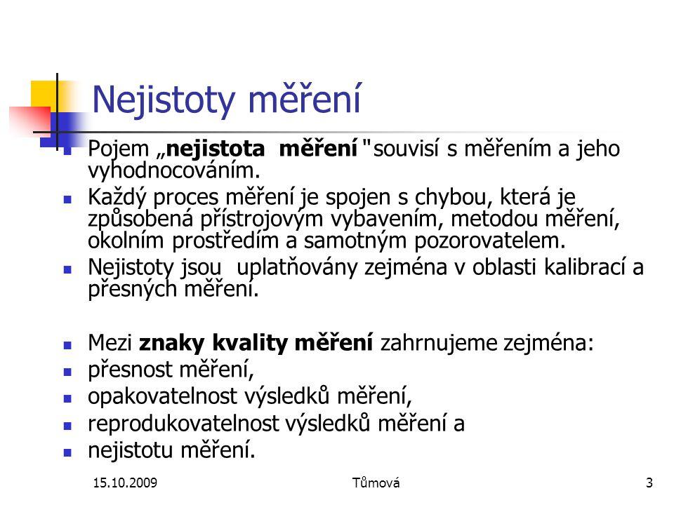 """15.10.2009Tůmová3 Nejistoty měření Pojem """"nejistota měření"""" souvisí s měřením a jeho vyhodnocováním. Každý proces měření je spojen s chybou, která je"""