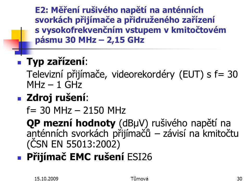 15.10.2009Tůmová30 E2: Měření rušivého napětí na anténních svorkách přijímače a přidruženého zařízení s vysokofrekvenčním vstupem v kmitočtovém pásmu 30 MHz – 2,15 GHz Typ zařízení: Televizní přijímače, videorekordéry (EUT) s f= 30 MHz – 1 GHz Zdroj rušení: f= 30 MHz – 2150 MHz QP mezní hodnoty (dBµV) rušivého napětí na anténních svorkách přijímačů – závisí na kmitočtu (ČSN EN 55013:2002) Přijímač EMC rušení ESI26