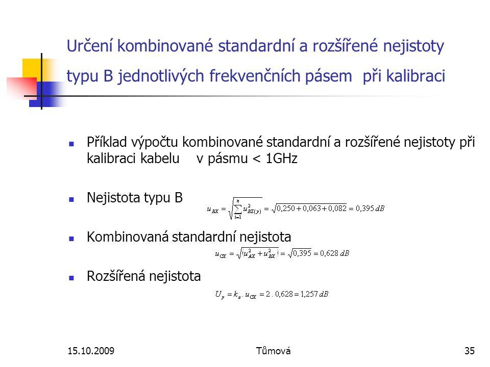 15.10.2009Tůmová35 Určení kombinované standardní a rozšířené nejistoty typu B jednotlivých frekvenčních pásem při kalibraci Příklad výpočtu kombinované standardní a rozšířené nejistoty při kalibraci kabelu v pásmu < 1GHz Nejistota typu B Kombinovaná standardní nejistota Rozšířená nejistota
