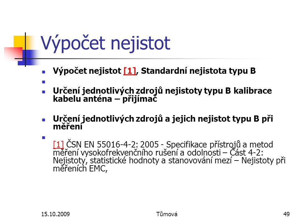 15.10.2009Tůmová49 Výpočet nejistot Výpočet nejistot [1], Standardní nejistota typu B[1] Určení jednotlivých zdrojů nejistoty typu B kalibrace kabelu anténa – přijímač Určení jednotlivých zdrojů a jejich nejistot typu B při měření [1] ČSN EN 55016-4-2: 2005 - Specifikace přístrojů a metod měření vysokofrekvenčního rušení a odolnosti – Část 4-2: Nejistoty, statistické hodnoty a stanovování mezí – Nejistoty při měřeních EMC, [1]
