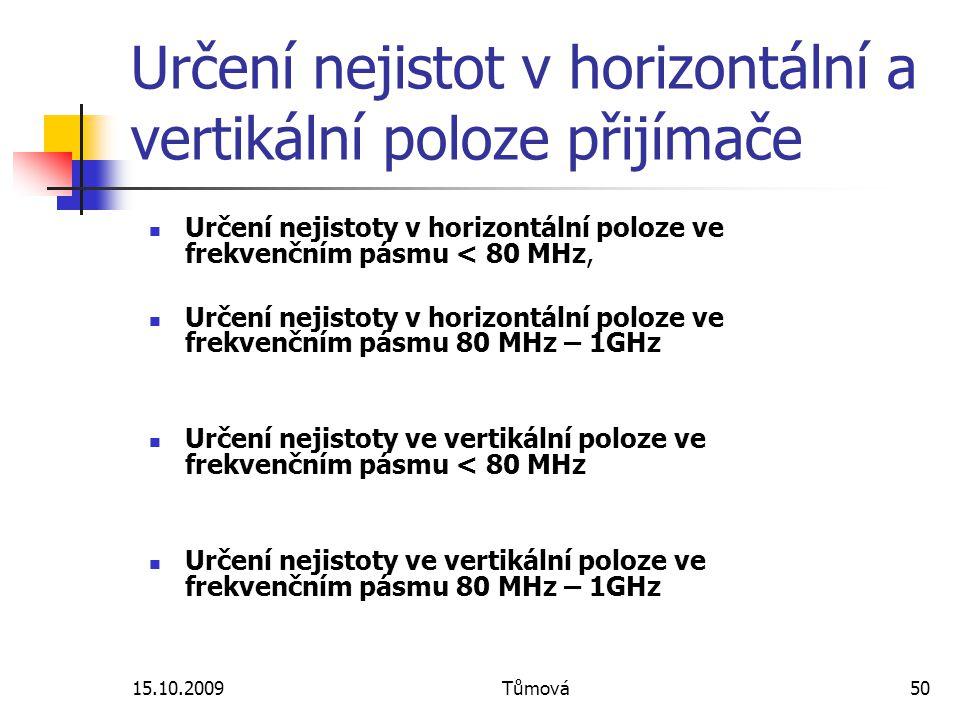 15.10.2009Tůmová50 Určení nejistot v horizontální a vertikální poloze přijímače Určení nejistoty v horizontální poloze ve frekvenčním pásmu < 80 MHz, Určení nejistoty v horizontální poloze ve frekvenčním pásmu 80 MHz – 1GHz Určení nejistoty ve vertikální poloze ve frekvenčním pásmu < 80 MHz Určení nejistoty ve vertikální poloze ve frekvenčním pásmu 80 MHz – 1GHz