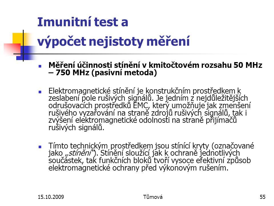 15.10.2009Tůmová55 Imunitní test a výpočet nejistoty měření Měření účinnosti stínění v kmitočtovém rozsahu 50 MHz – 750 MHz (pasivní metoda) Elektromagnetické stínění je konstrukčním prostředkem k zeslabení pole rušivých signálů.