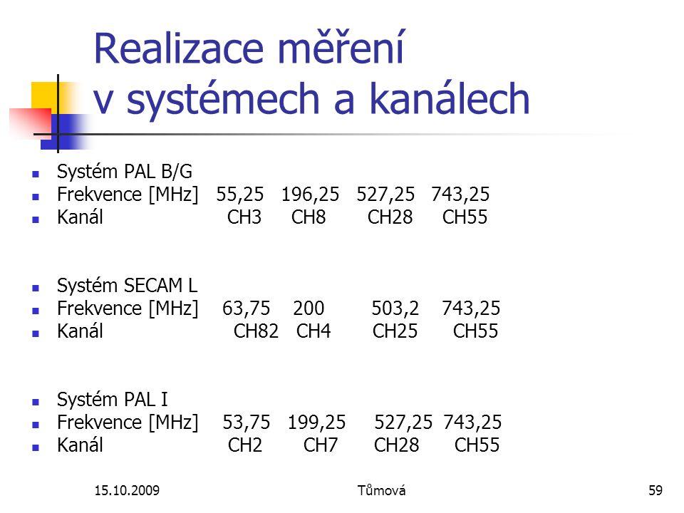 15.10.2009Tůmová59 Realizace měření v systémech a kanálech Systém PAL B/G Frekvence [MHz] 55,25 196,25 527,25 743,25 Kanál CH3 CH8 CH28 CH55 Systém SECAM L Frekvence [MHz] 63,75 200 503,2 743,25 Kanál CH82 CH4 CH25 CH55 Systém PAL I Frekvence [MHz] 53,75 199,25 527,25 743,25 Kanál CH2 CH7 CH28 CH55