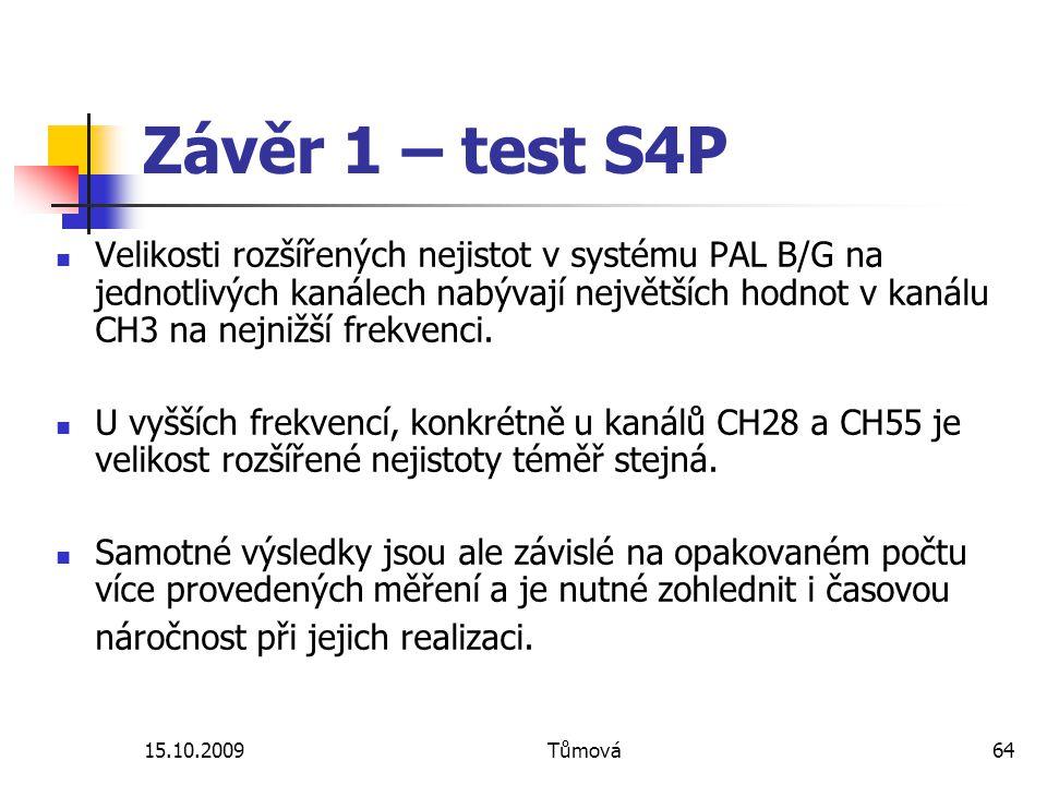 15.10.2009Tůmová64 Závěr 1 – test S4P Velikosti rozšířených nejistot v systému PAL B/G na jednotlivých kanálech nabývají největších hodnot v kanálu CH3 na nejnižší frekvenci.