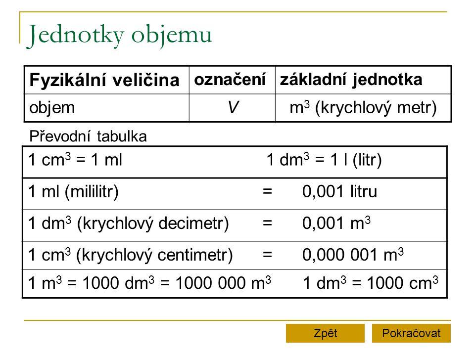 Jednotky objemu Fyzikální veličina označenízákladní jednotka objemVm 3 (krychlový metr) 1 cm 3 = 1 mlMMMMMMMMMM1 dm 3 = 1 l (litr) 1 ml (mililitr)=0,001 litru 1 dm 3 (krychlový decimetr)=0,001 m 3 1 cm 3 (krychlový centimetr)=0,000 001 m 3 1 m 3 = 1000 dm 3 = 1000 000 m 3 1 dm 3 = 1000 cm 3 PokračovatZpět Převodní tabulka