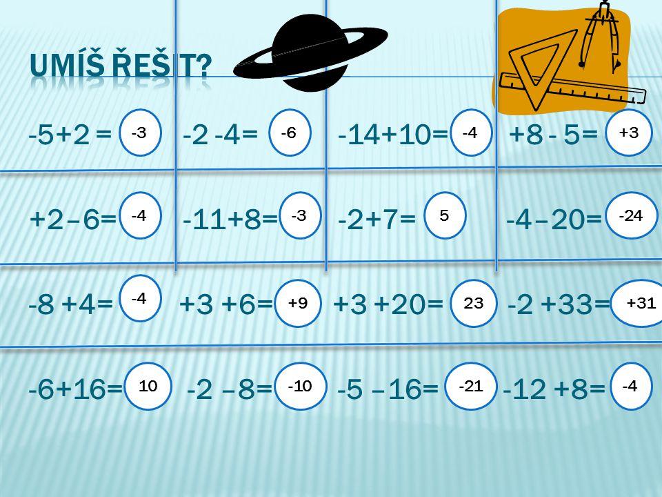 -5+2 = -2 -4= -14+10= +8 - 5= +2–6= -11+8= -2+7= -4–20= -8 +4= +3 +6= +3 +20= -2 +33= -6+16= -2 –8= -5 –16= -12 +8= -3 -4 10 -6 -3 +9 -10 -4 5 23 -21 +3 -24 +31 -4