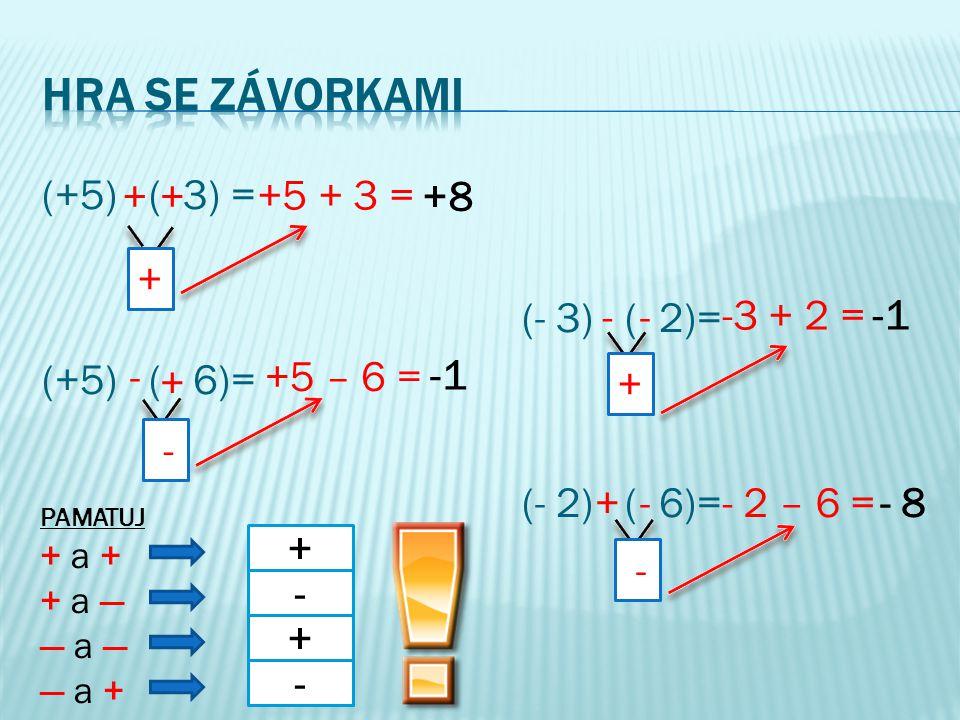 (+5) ( 3) = (- 3) ( 2)= (+5) ( 6)= (- 2) ( 6)= ++ +5 + 3 = + +8 + -+5 – 6 = - -- + -3 + 2 = -1 -+ - - 2 – 6 =- 8 PAMATUJ + a ++ a + + a —+ a — — a —— a — — a +— a + + - + -