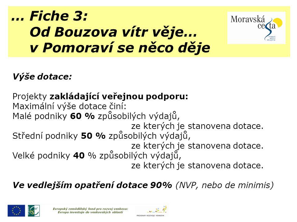 … Fiche 3: Od Bouzova vítr věje… v Pomoraví se něco děje Výše dotace: Projekty zakládající veřejnou podporu: Maximální výše dotace činí: Malé podniky 60 % způsobilých výdajů, ze kterých je stanovena dotace.