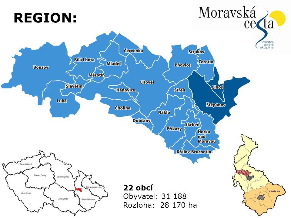 22 obcí Obyvatel: 31 188 Rozloha: 28 170 ha REGION: