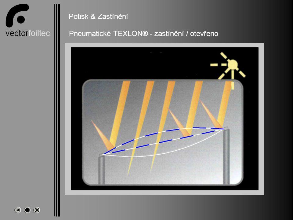 vectorfoiltec Bedruckung und Schattierung Potisk & Zastínění Pneumatické TEXLON® - zastínění / otevřeno